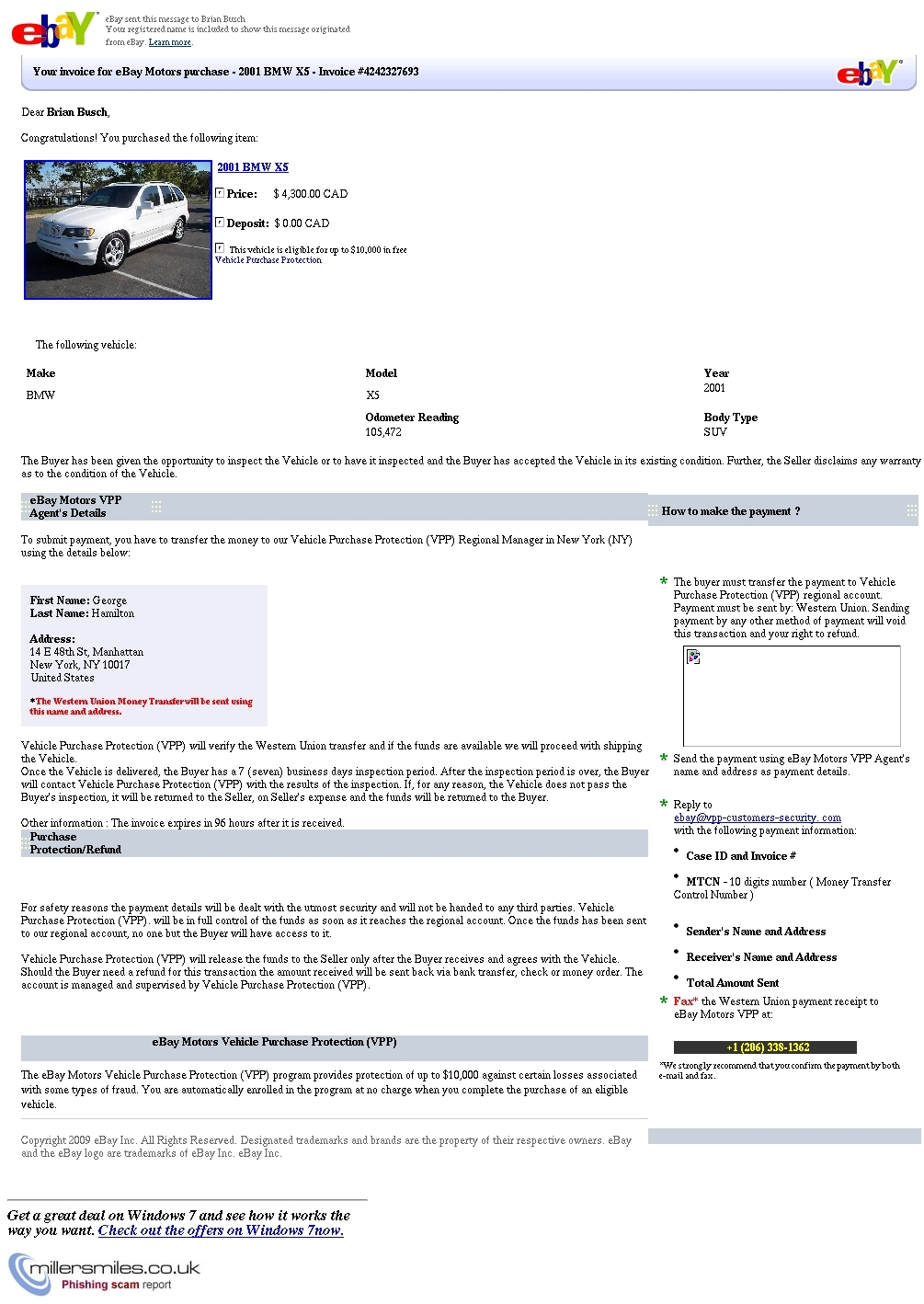 your invoice for ebay motors purchase 2001 bmw x5 invoice ebay invoice scam