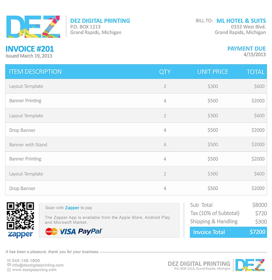 zapper bills sample invoices samples of invoice