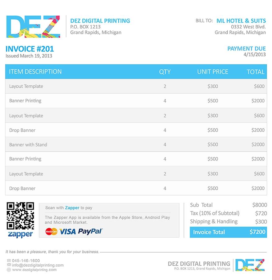 zapper bills sample invoices samples of invoice