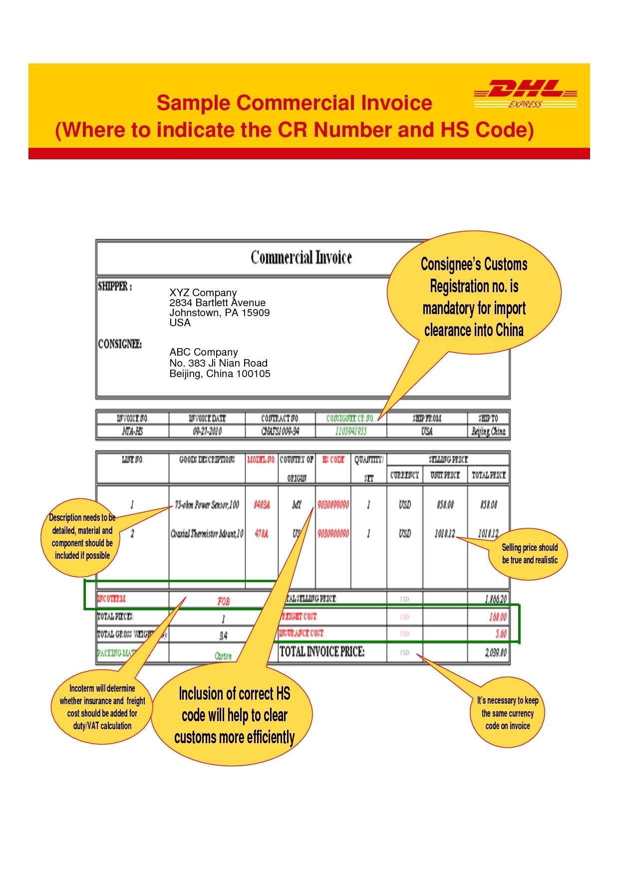 dhl commercial invoice dhl commercial invoice template invoice example 1240 X 1754