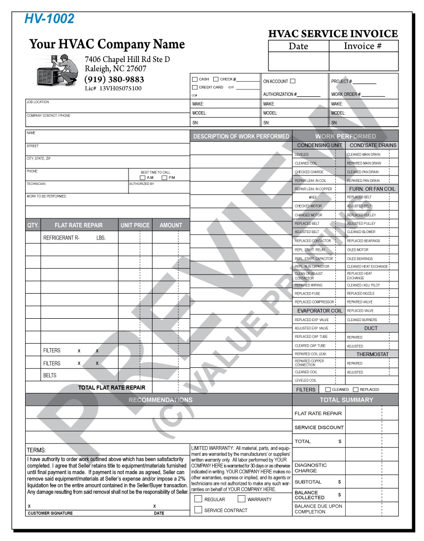 free design fast shipping on hvac forms hvac invoices work hvac invoice sample