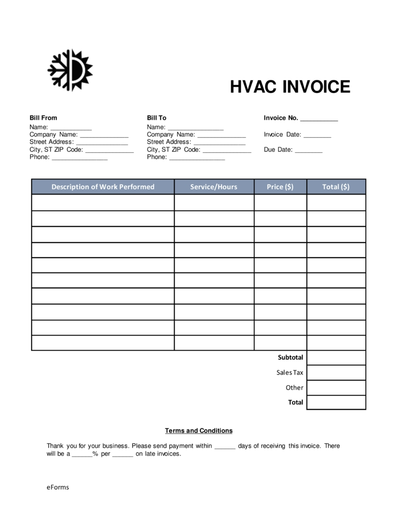 free hvac invoice template word pdf eforms free fillable forms hvac invoice sample