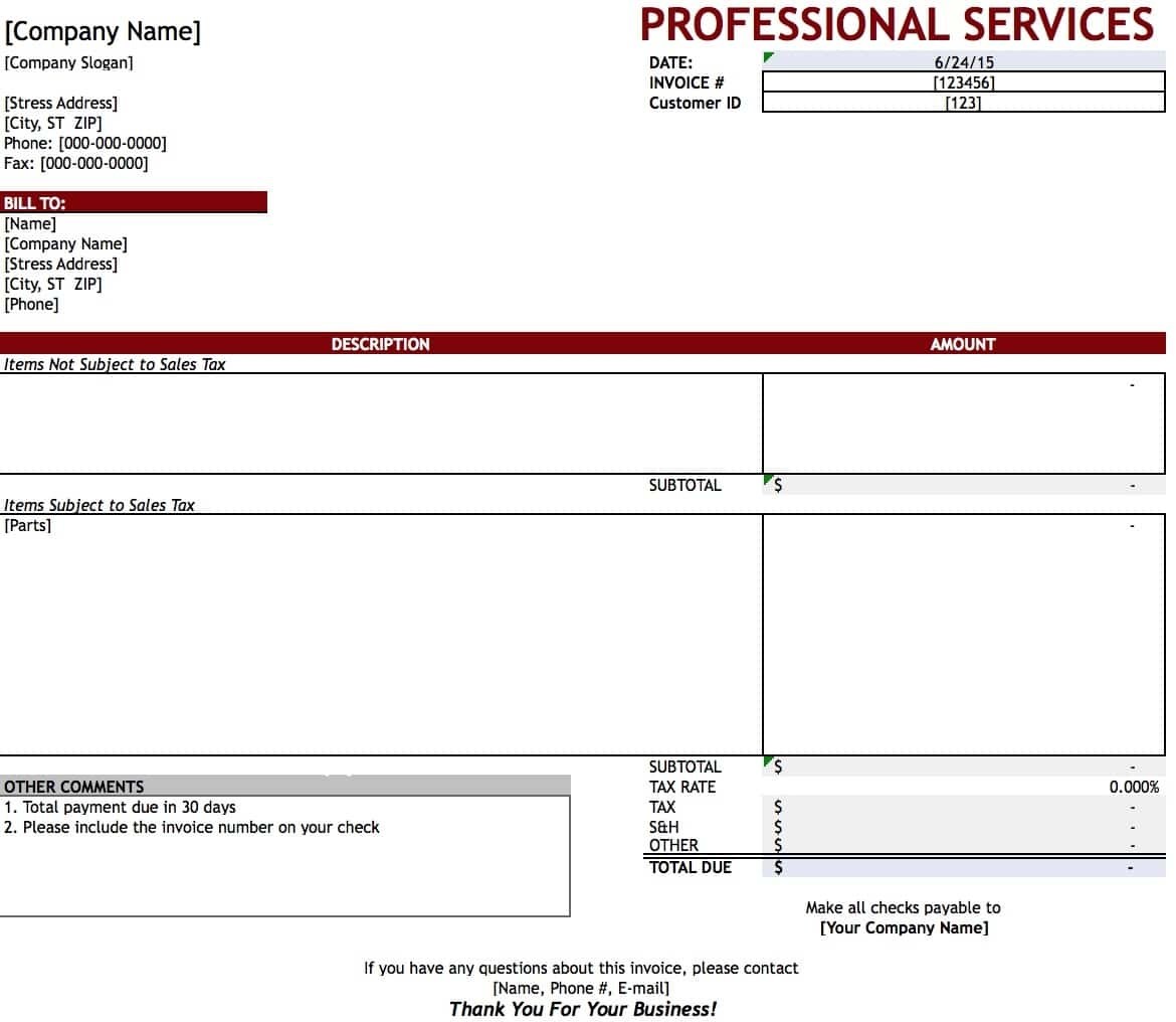 Sample Of Invoices For Services