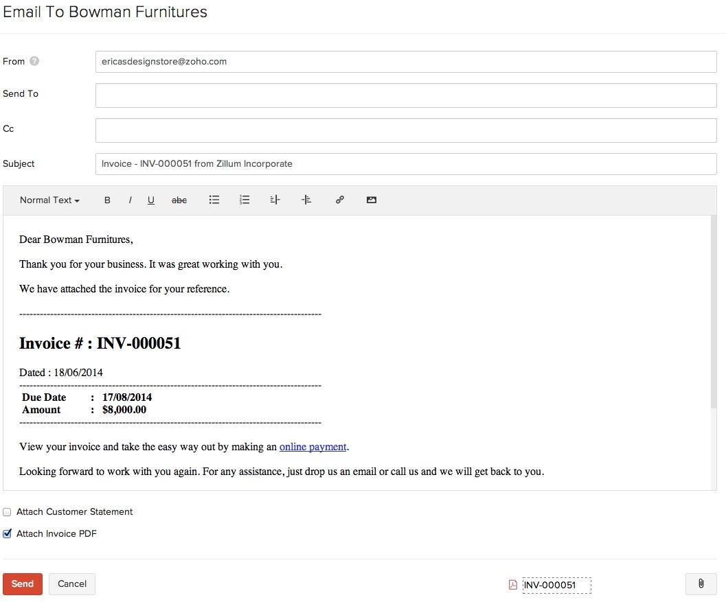 invoiceshelp document invoice email sample