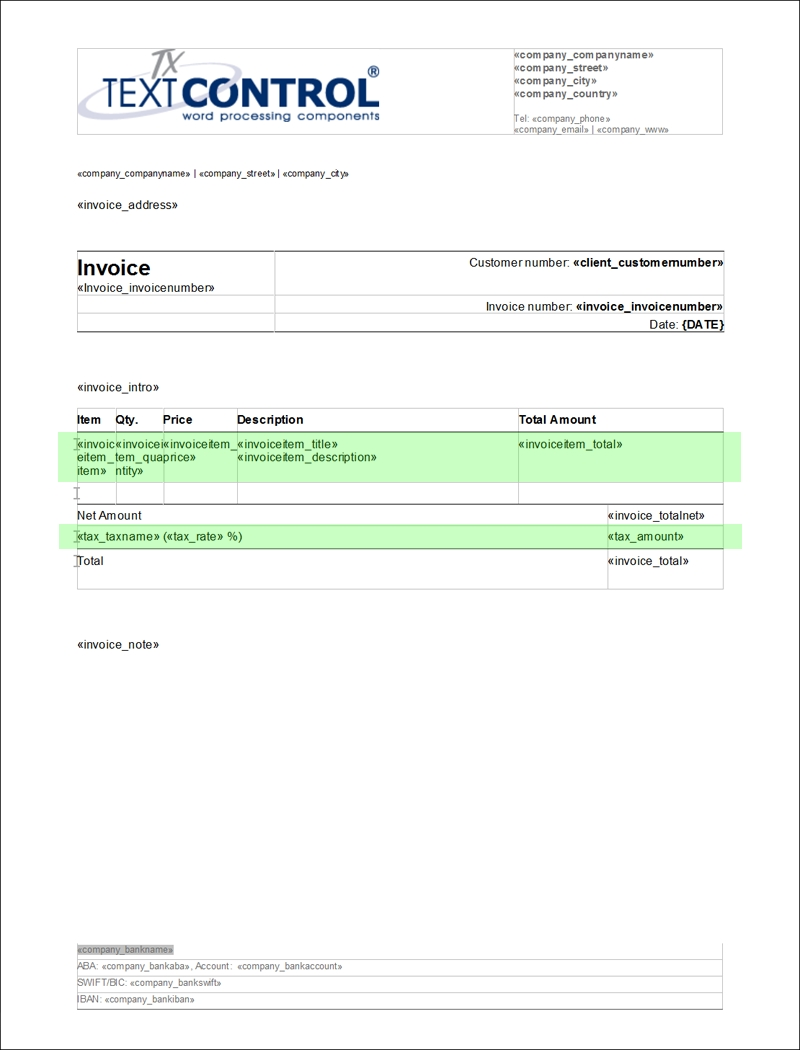 ready to use template creating invoices using tx text control create a invoice template