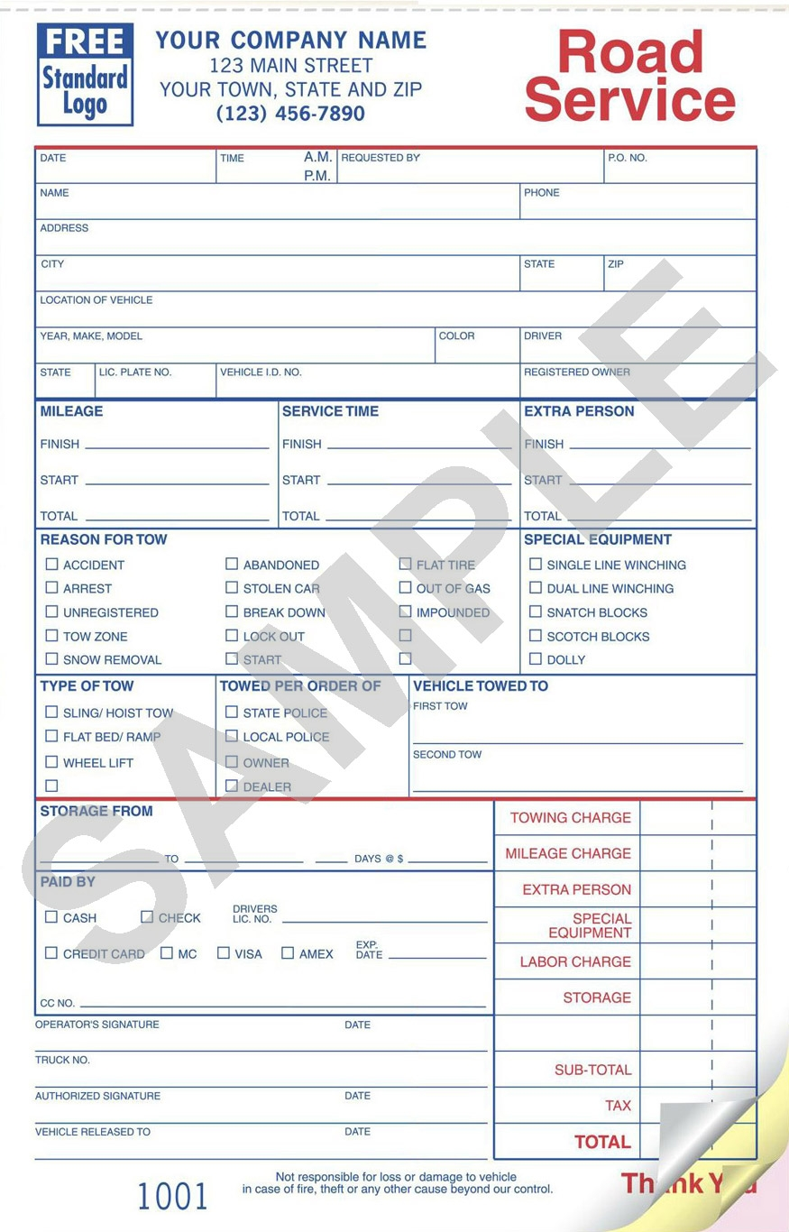 sample towing invoice template towing invoice forms