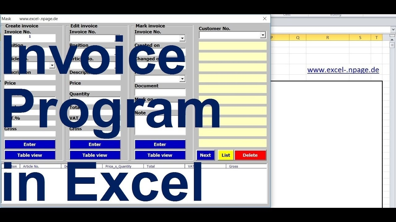 1 create an invoice program with customer database and product range in excel vba itself invoice and database excel