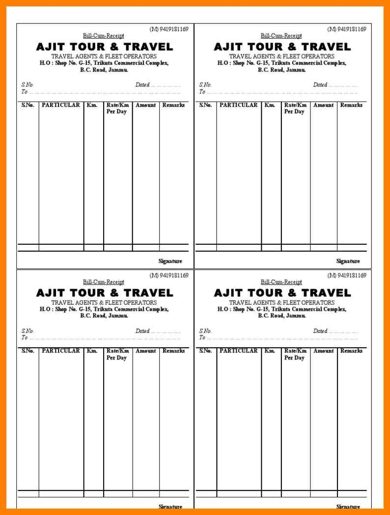 10 travels bill format management on call bill format of tour & travel