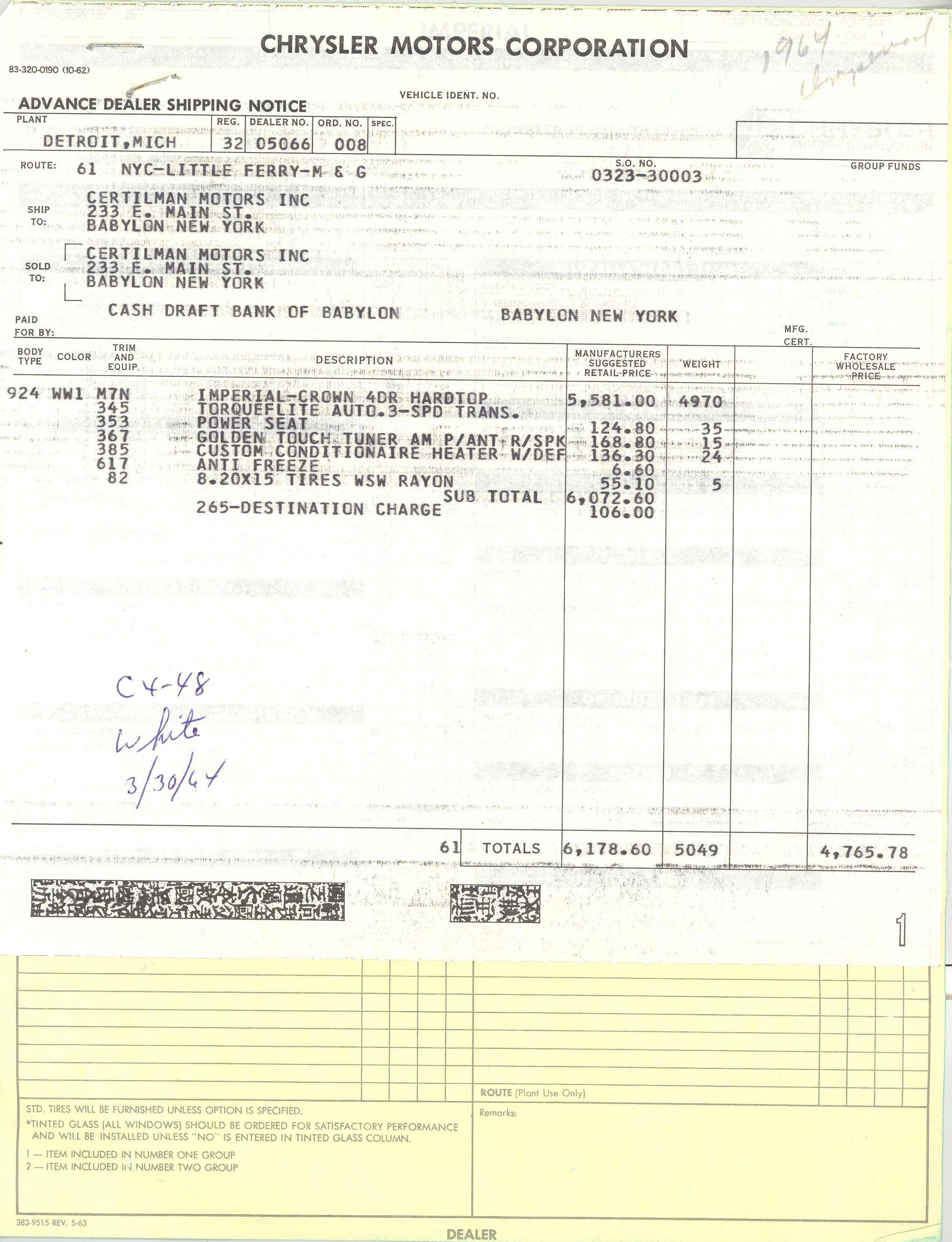 1964 crown purchase slip and dealer invoice car club print invoice