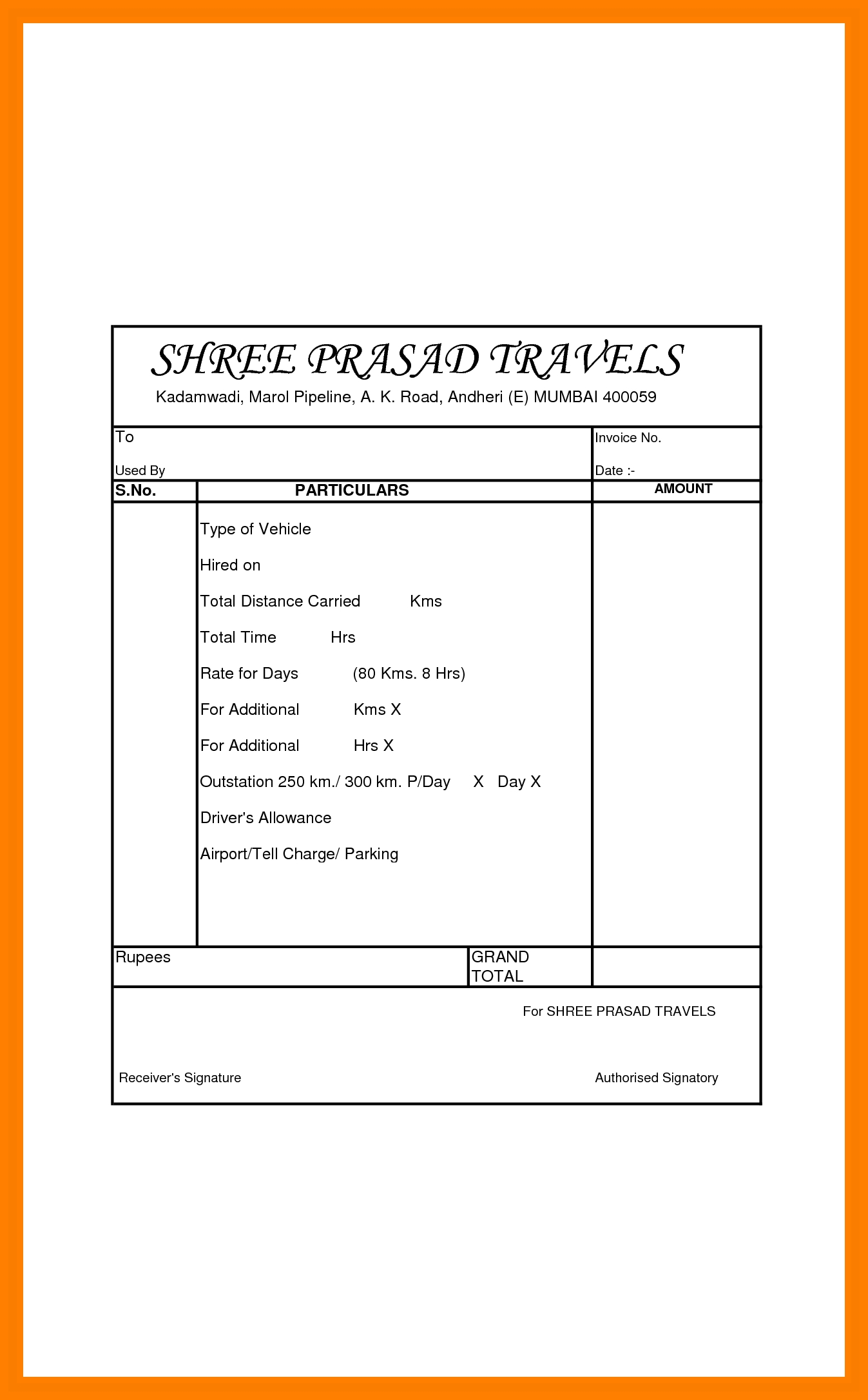 5 tours and travels bill format management on call travel and tour receipt sample