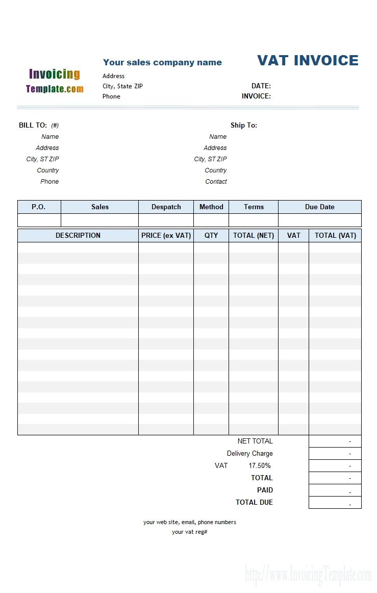 6 column invoice templates vat bill format in word