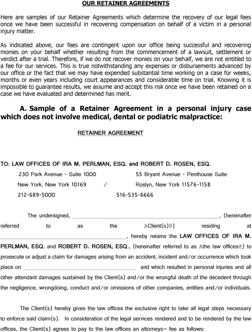 a sample of a retainer agreement in a personal injury case retainer fee agreement sample