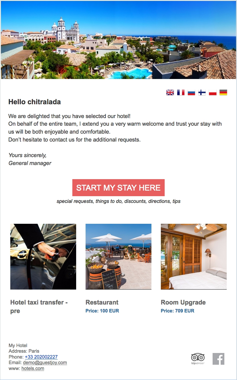 a sample of good hotel pre arrival email email design hotel about us sample