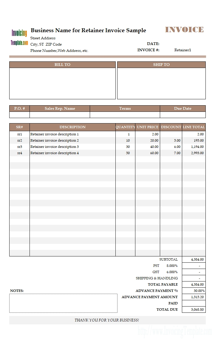 advance payment invoicing format invoice 50 advance payment template