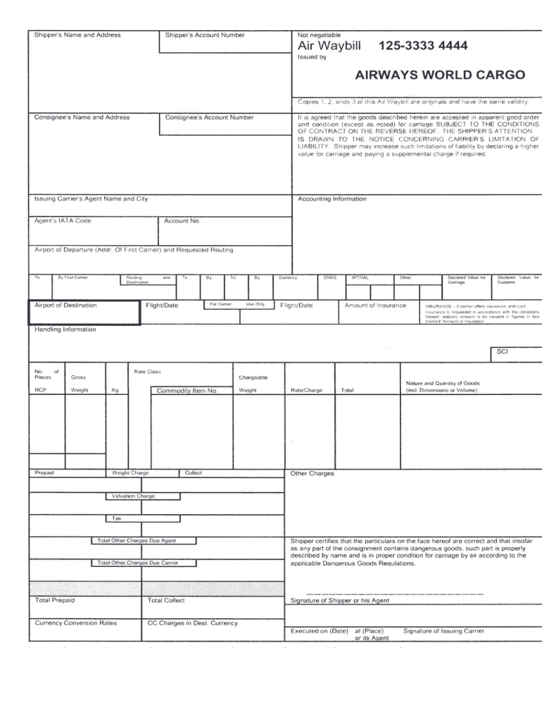 airway bill format fill online printable fillable blank airway bill in business a blank copy