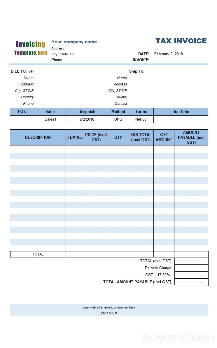 australian gst invoice template gst invoice format in word