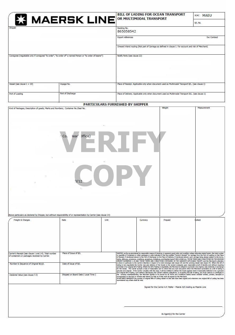 bill of lading sample bill of lading invoice template maersk line customers profoma invoices