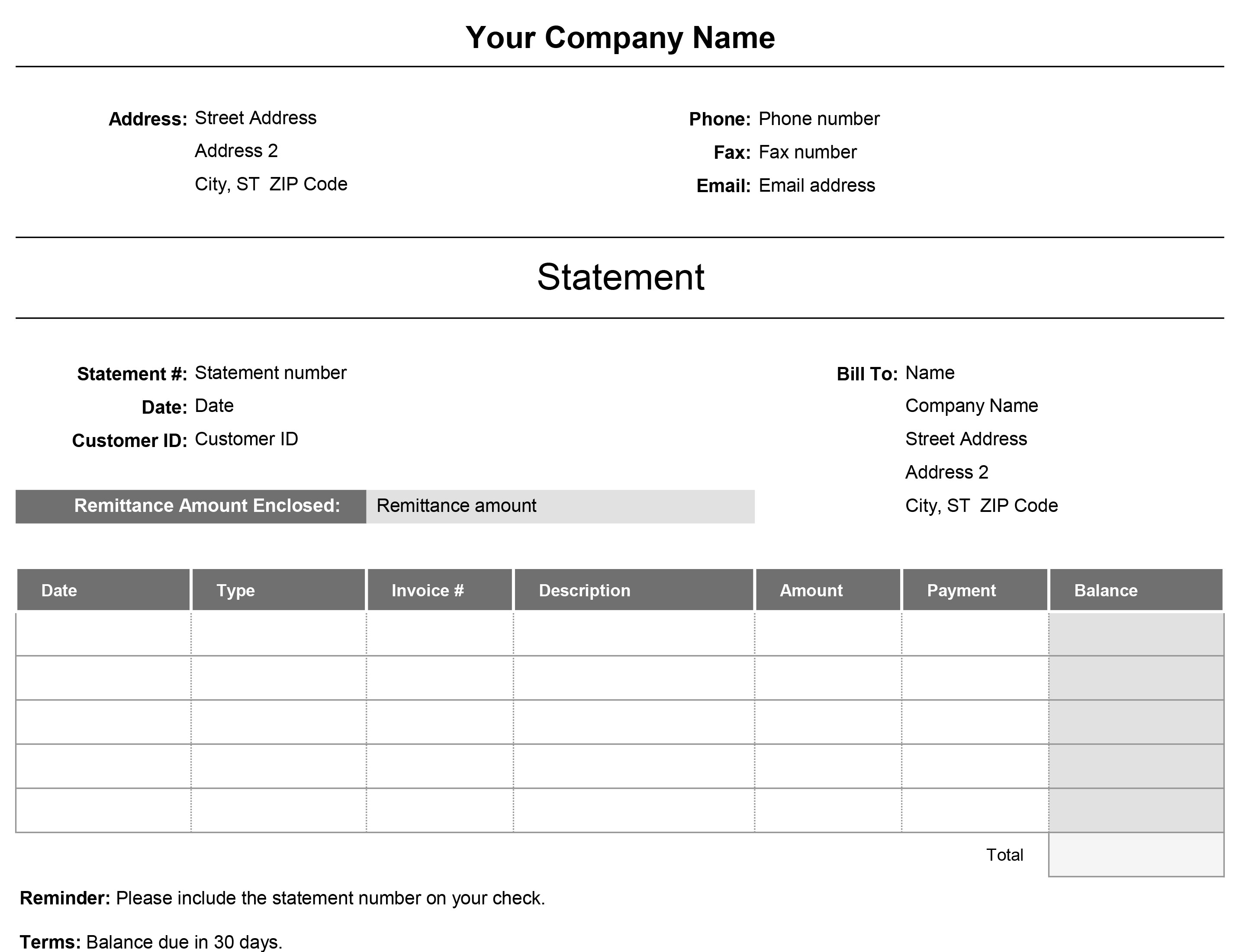 billing statement simple monthly billing statement template blank