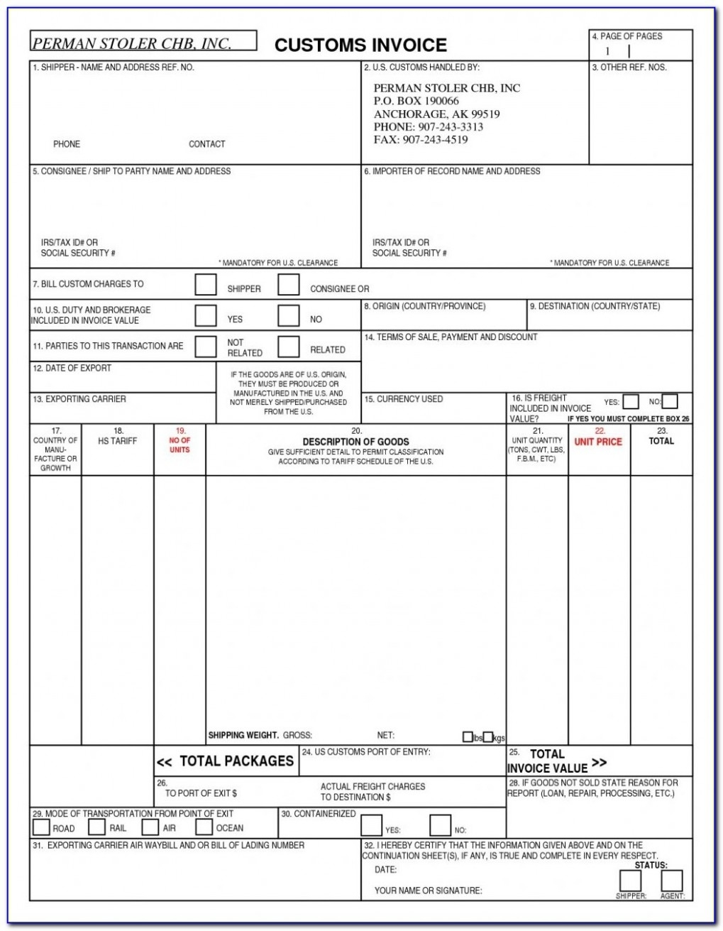 blank us customs invoice invoice template us customs invoice template
