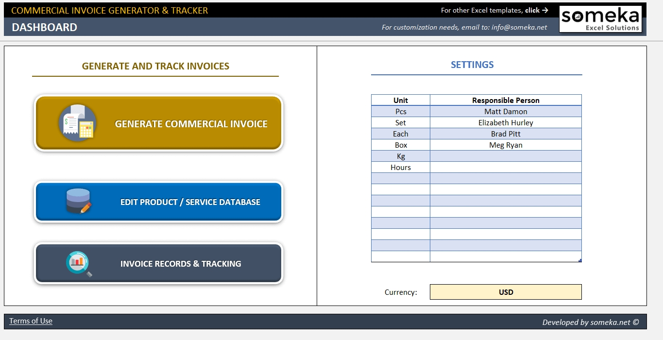commercial invoice generator tracker invoice and database excel