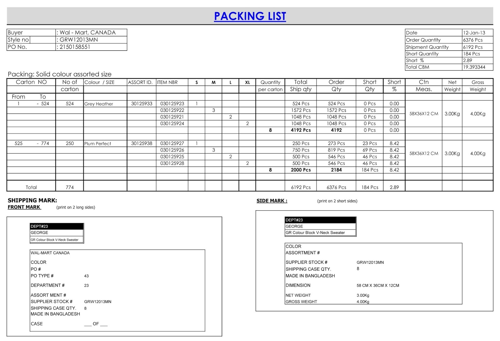 contoh invoice packing list   invoice template ideas
