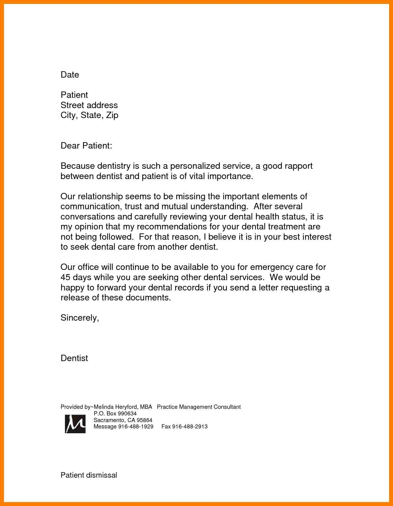 dental patient dismissal letter template samples letter letters templates disputes of dental services help