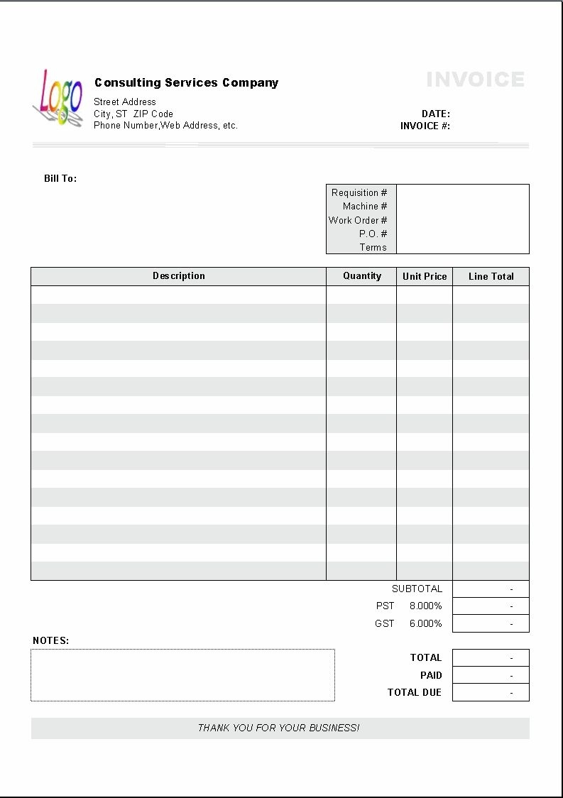excel based consulting invoice template excel invoice gst invoice format for interior work sample