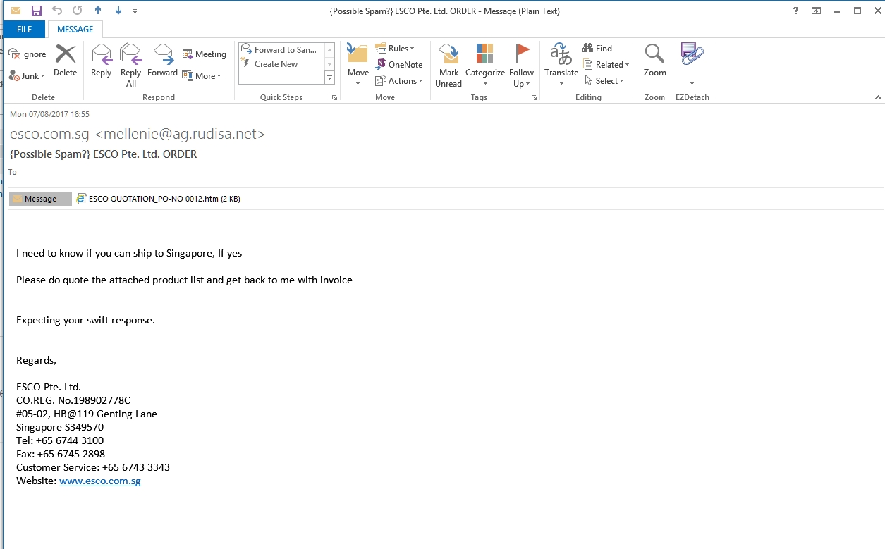 fake quotation request leads to phishing for email please kindly find attachement below mail
