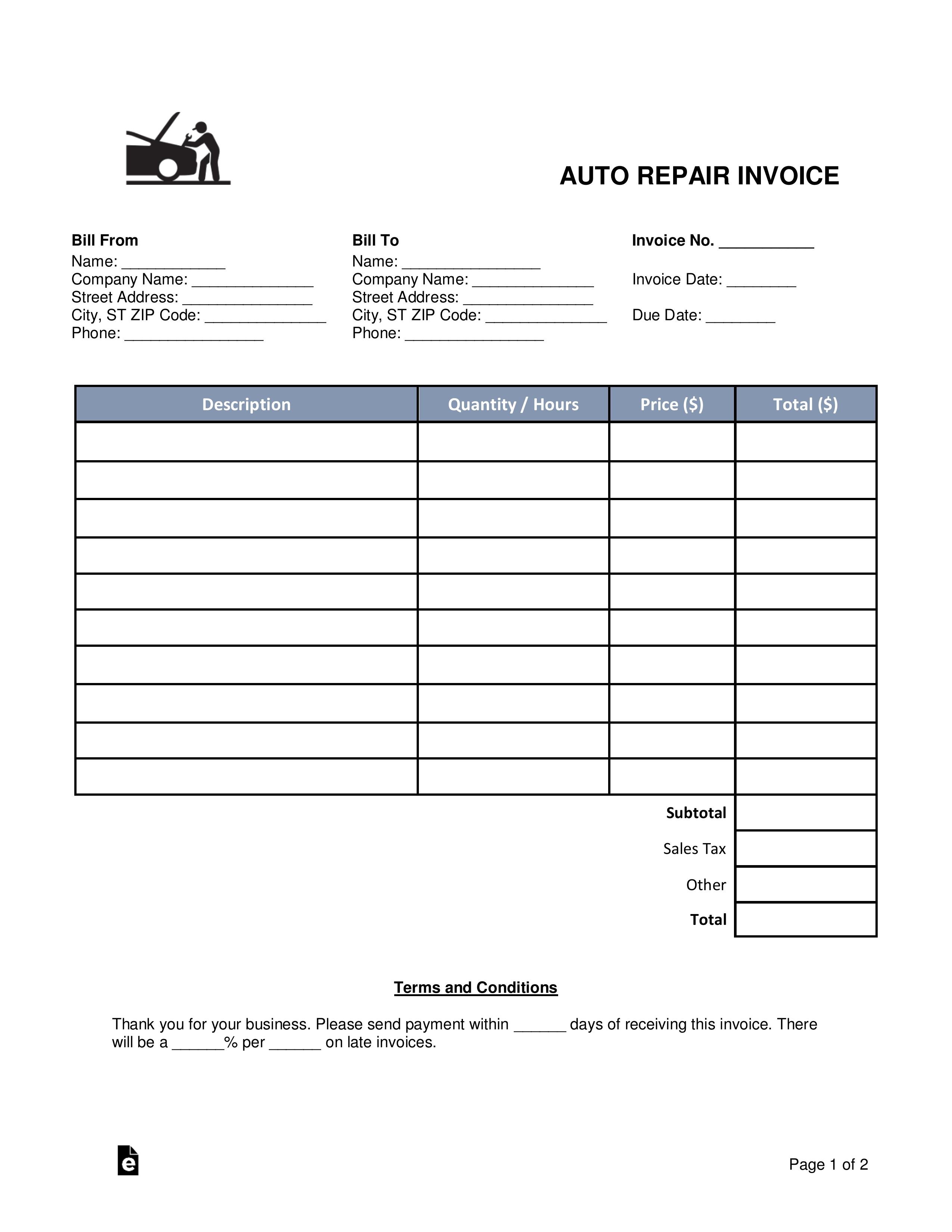 free auto body mechanic invoice template word pdf auto body invoice forms
