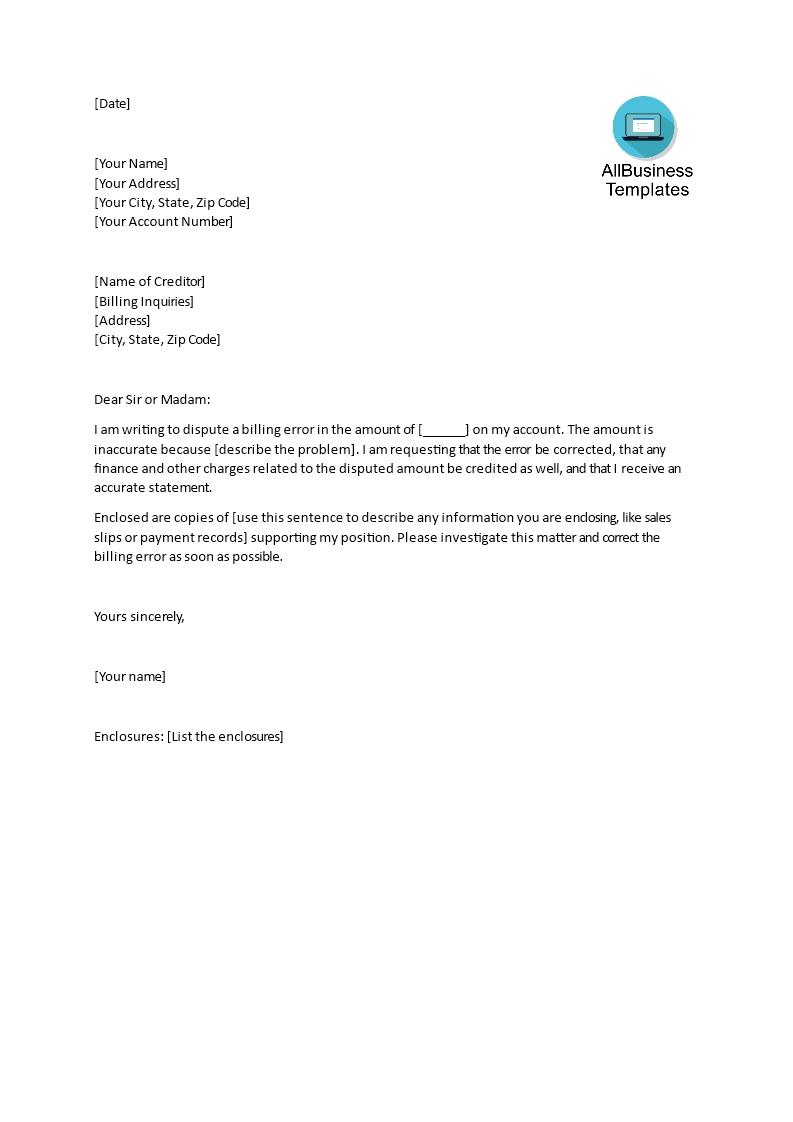 gratis sample letter for disputing incorrect billing disputed invoice letter sample