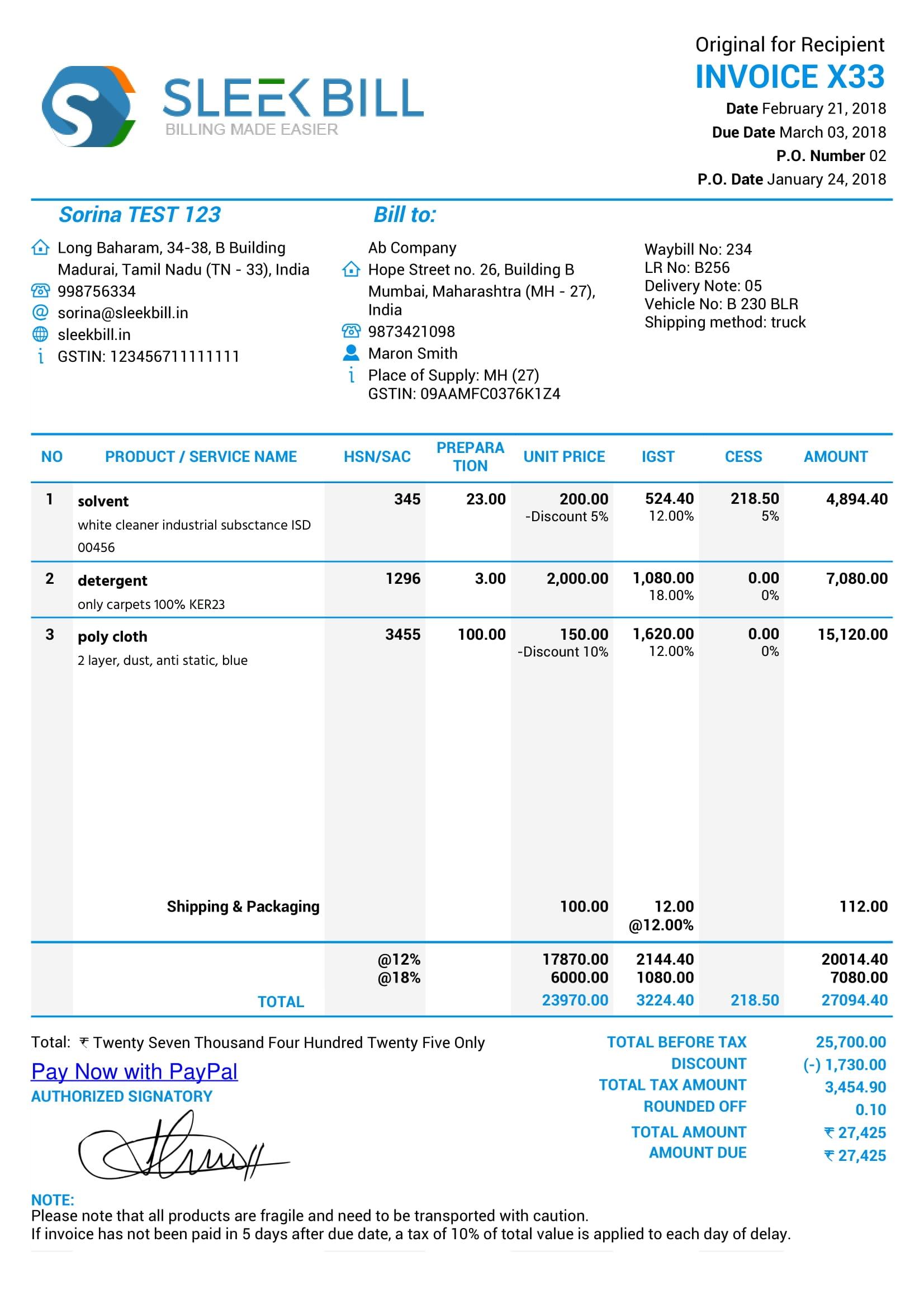 gst invoice format tax invoice farmet in gst india