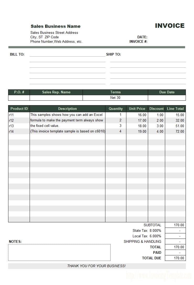 net 30 invoice sample net 30 invoice template