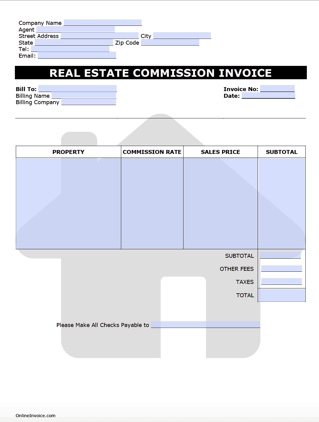 real estate commission invoice template onlineinvoice real estate broker invoice