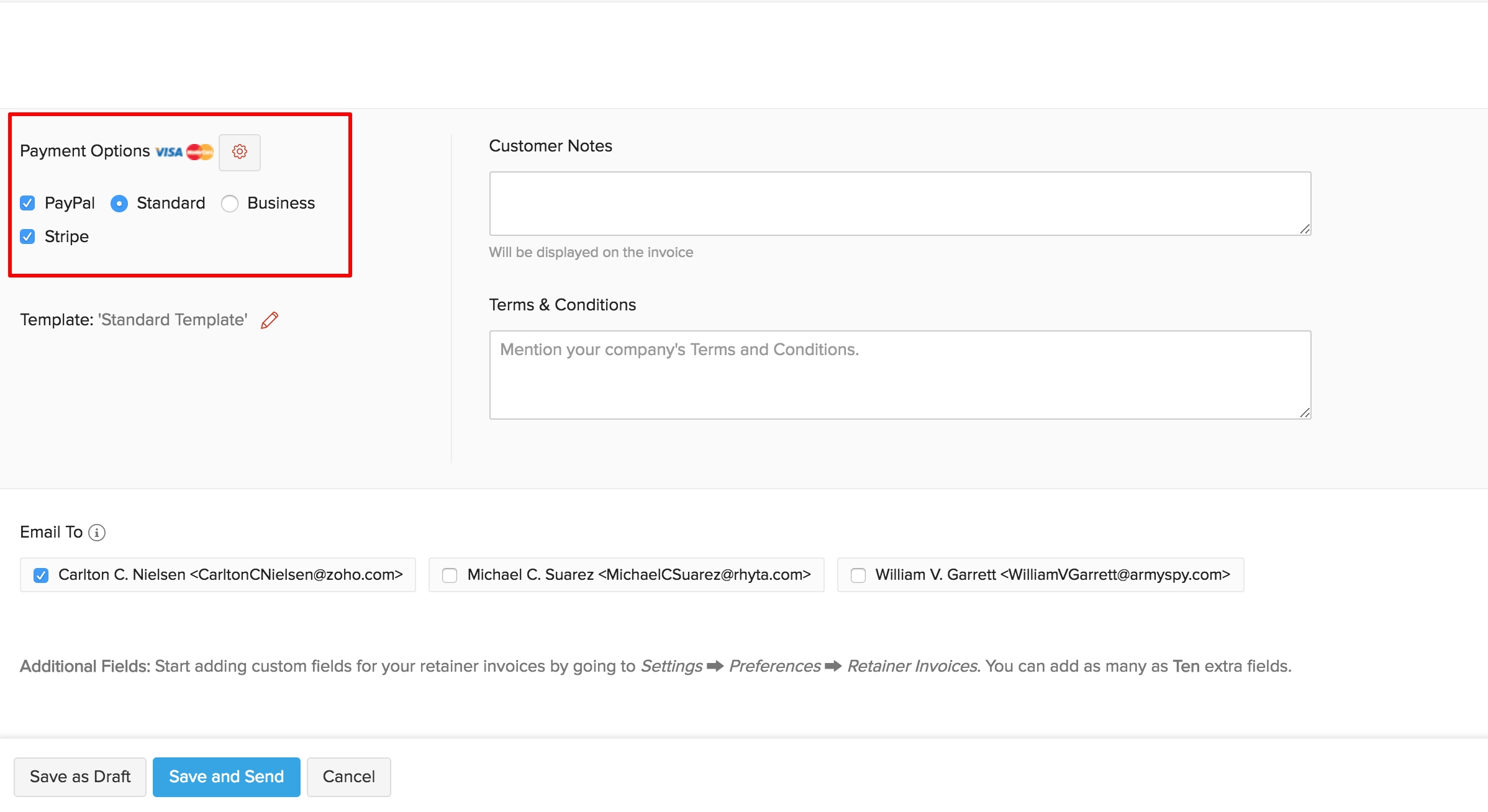 recording payments for retainer invoices help zoho invoice invoice make payment to