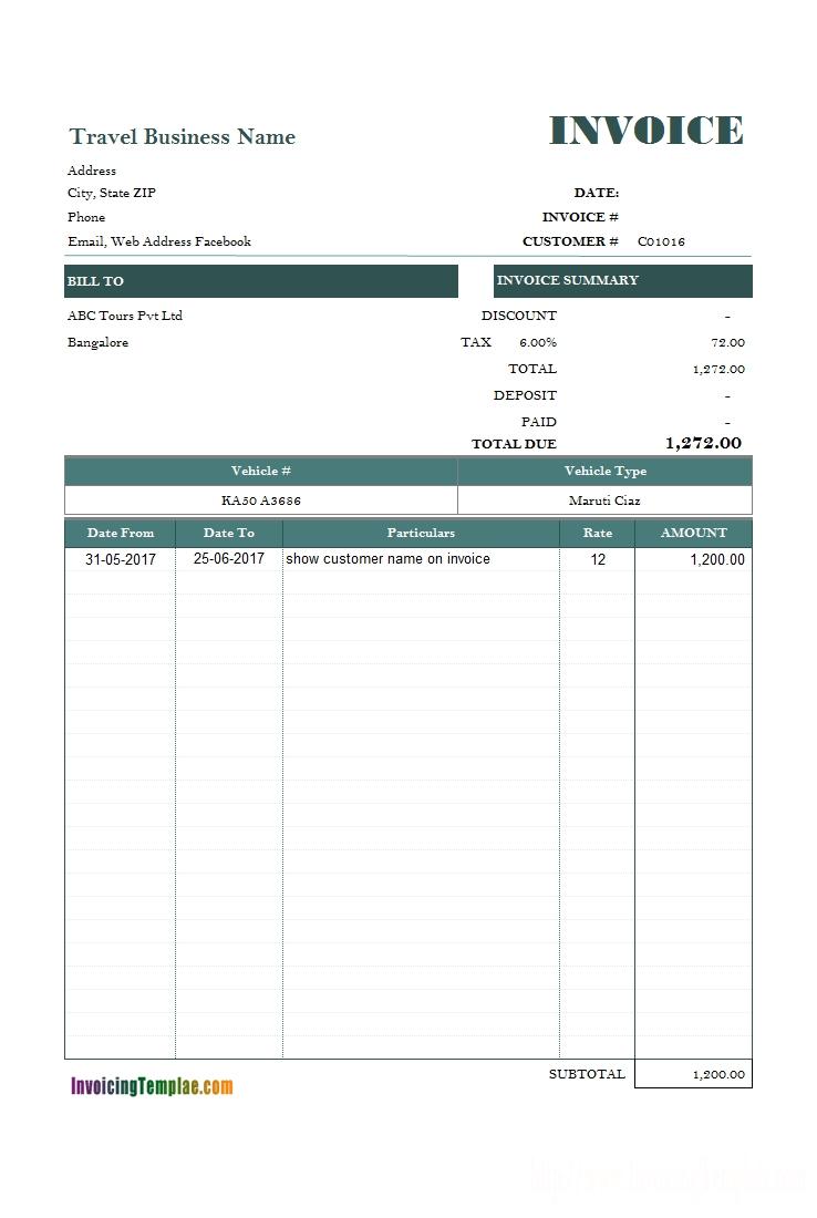 service invoice template car travel agency bill