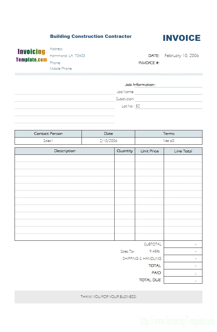 service invoice template format of job work bill