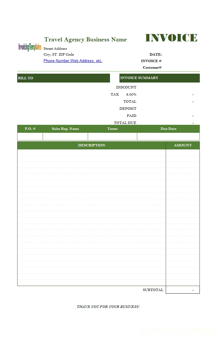 travel service bill format travel agency payment invoice