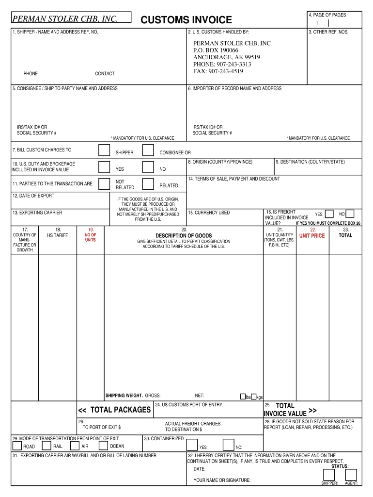 us customs form fillable fill online printable fillable us customs invoice template