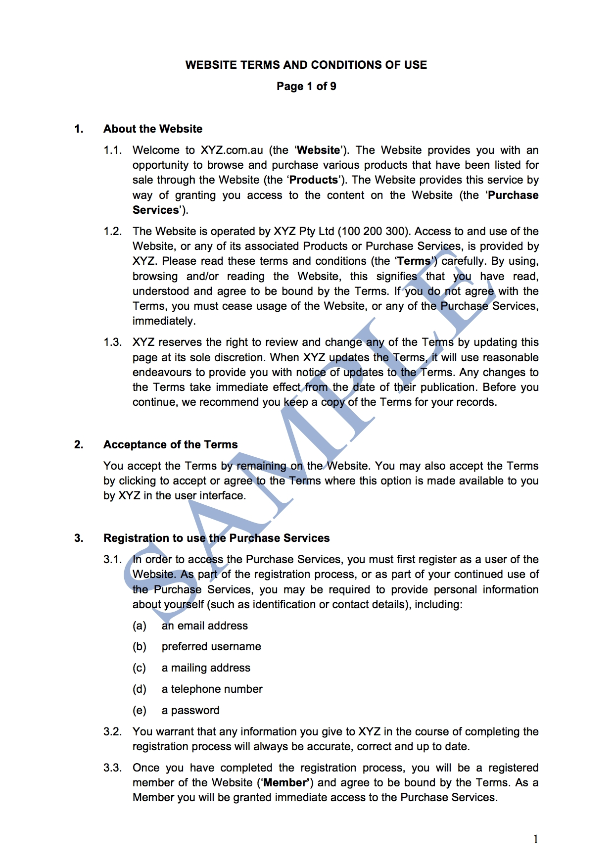 website terms and conditions of use goods free template terms and condition for companies sample