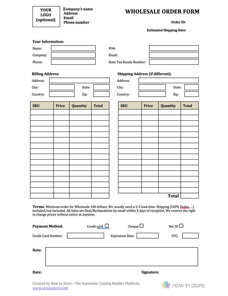 wholesale order form template create your own for free make your own blank printable editable order forms free