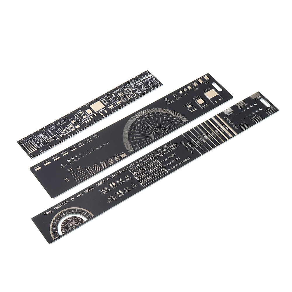 1set 15cm 20cm 25cm multifunctional pcb ruler measuring tool resistor capacitor chip ic smd diode transistor package 180 degrees pcb designing gst bill
