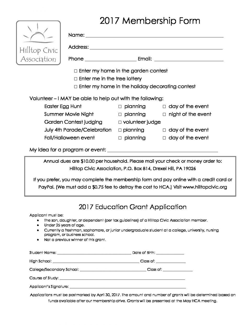 2017 membership form hilltop civic association adriennebailon association membership form sample