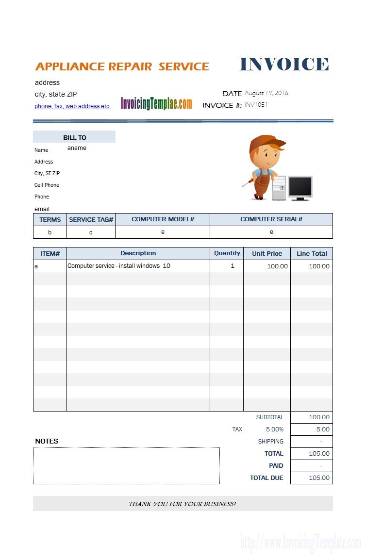 appliance repair service bill template mobile repair bill format