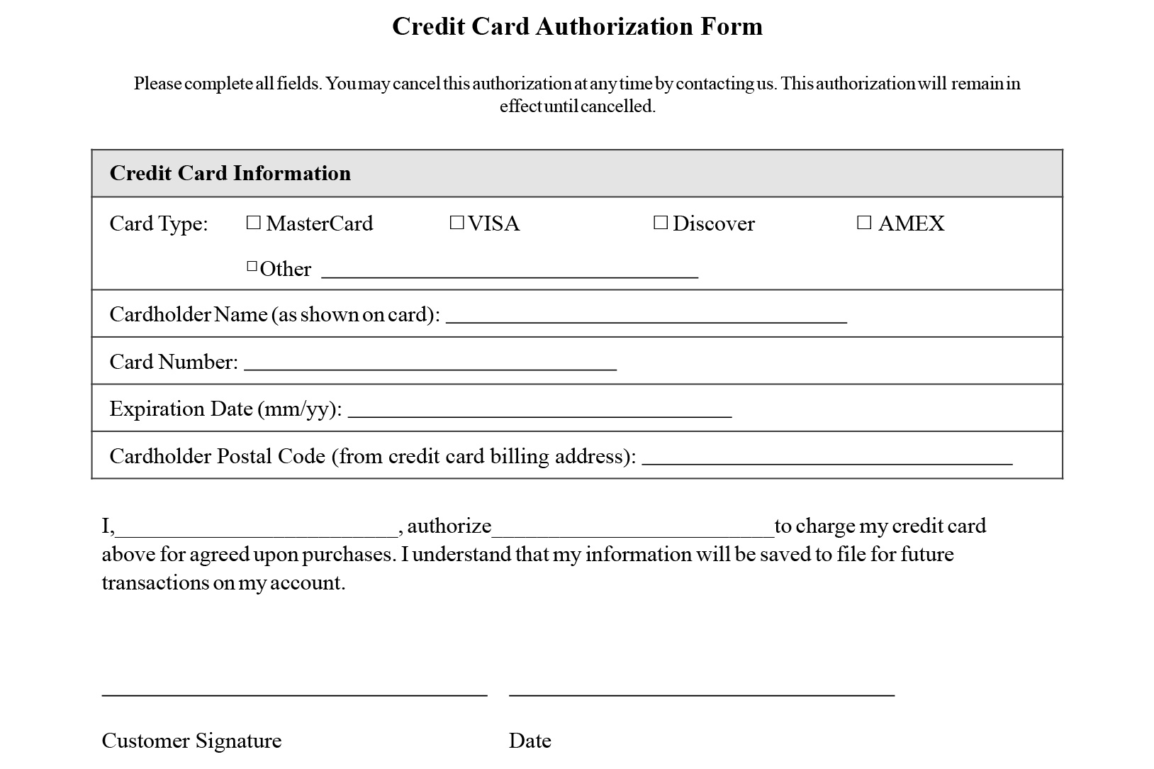 credit card authorization form templates download sample of credit transaction
