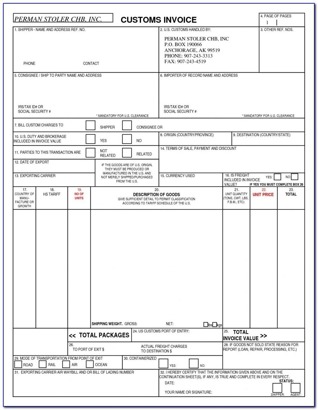 customs invoice template invoicegenerator us customs invoice us customs invoice fillable