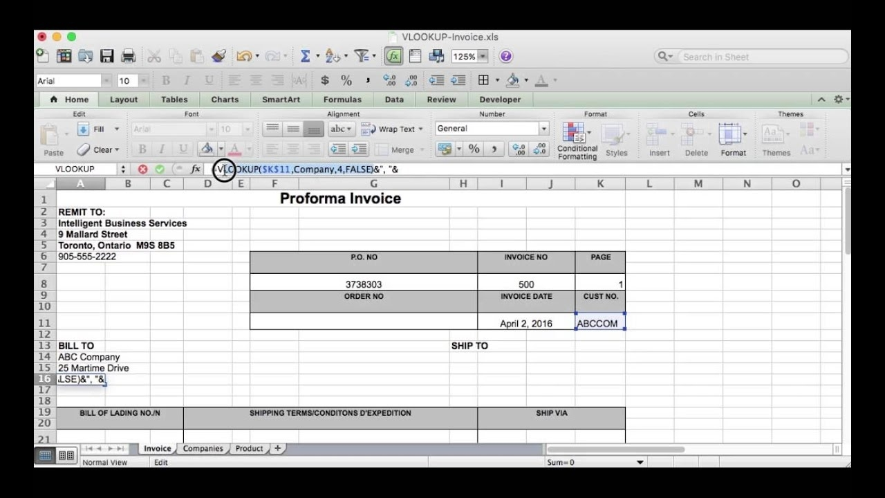 excel tip vlookup function used on proforma invoice function of proforma invoice