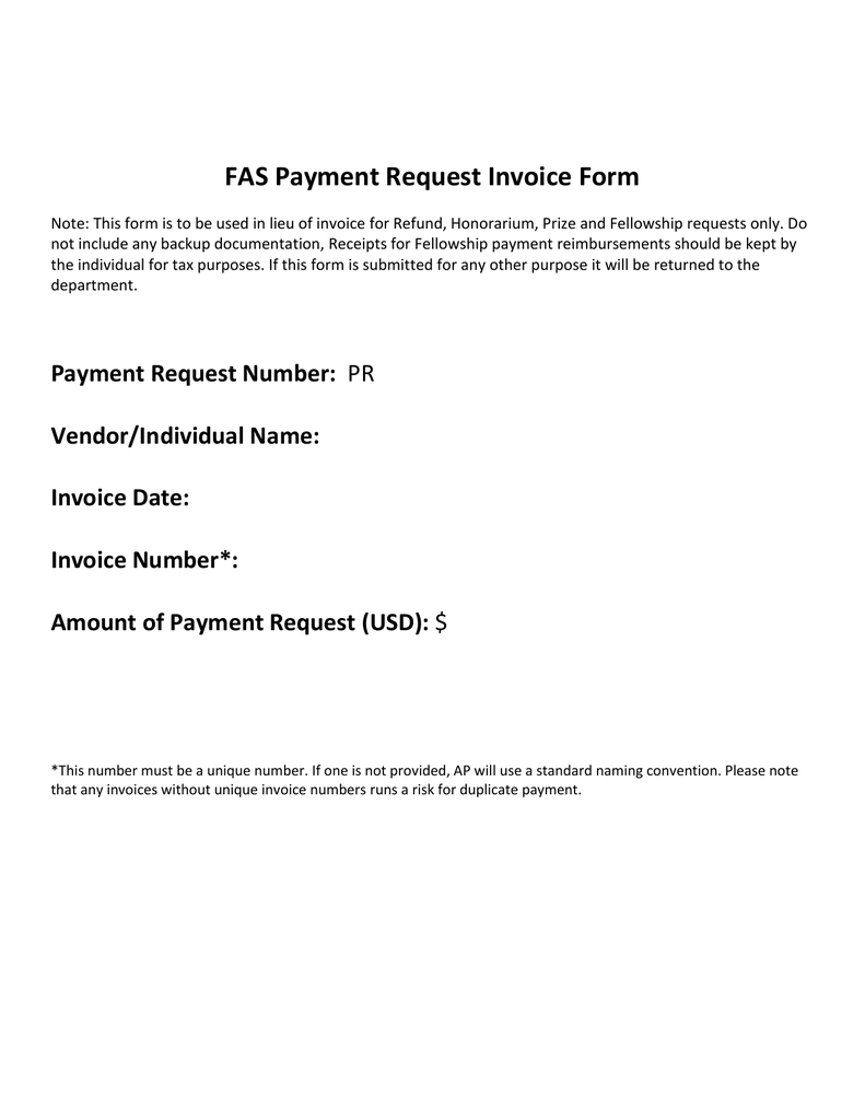 fas payment request invoice form request for invoice template