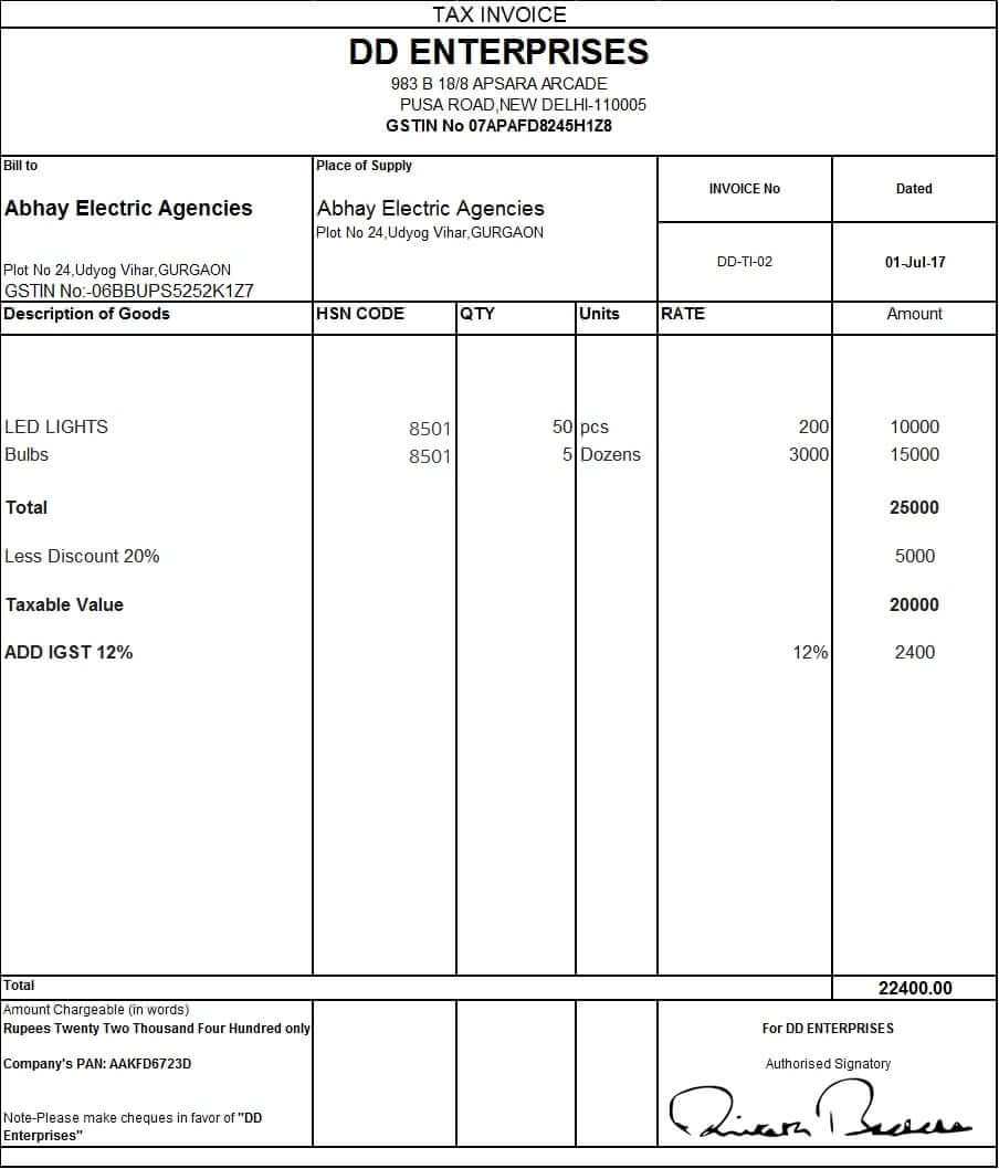 format for tax invoice kozenjasonkellyphotoco gst bill format in excel