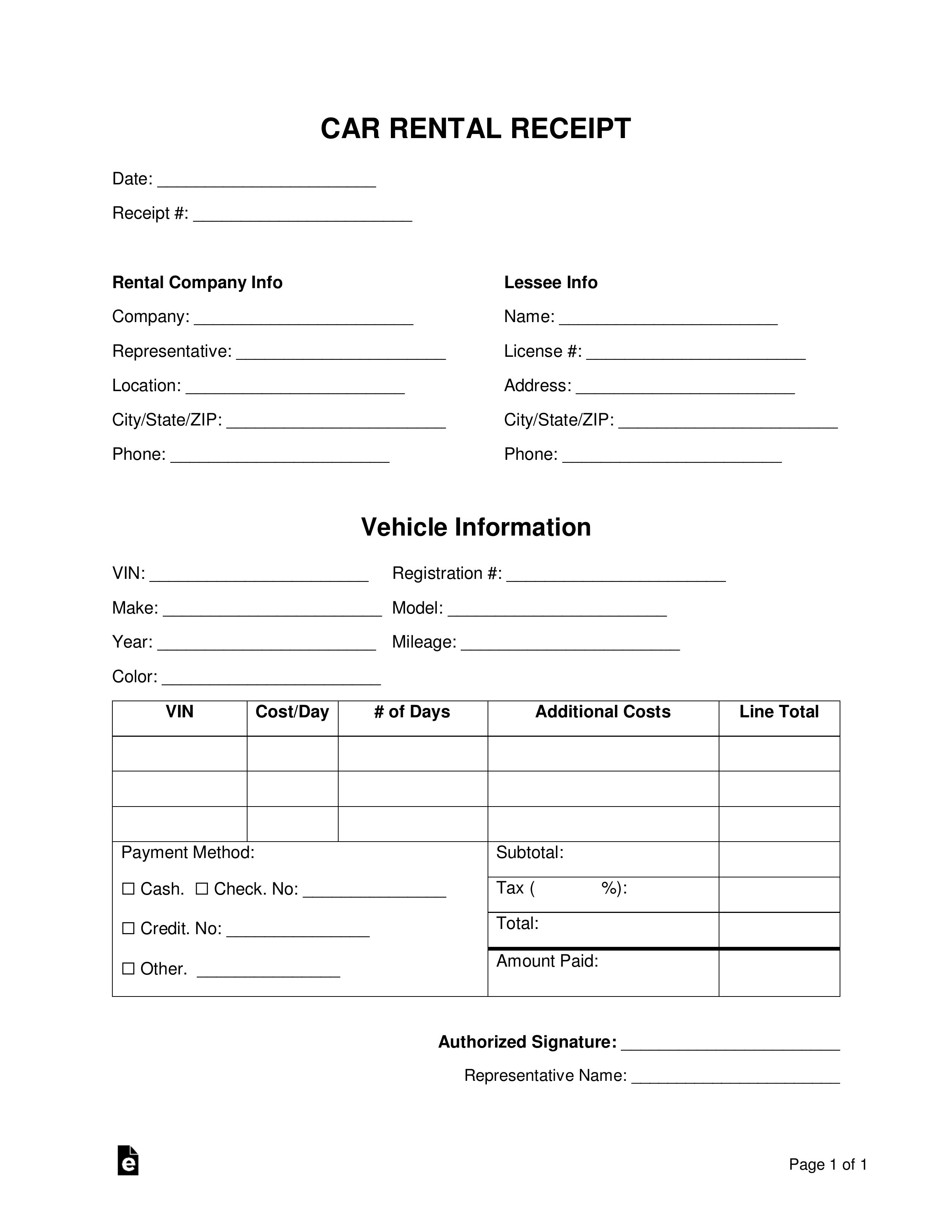 free car rental receipt template word pdf eforms car hire receipt details