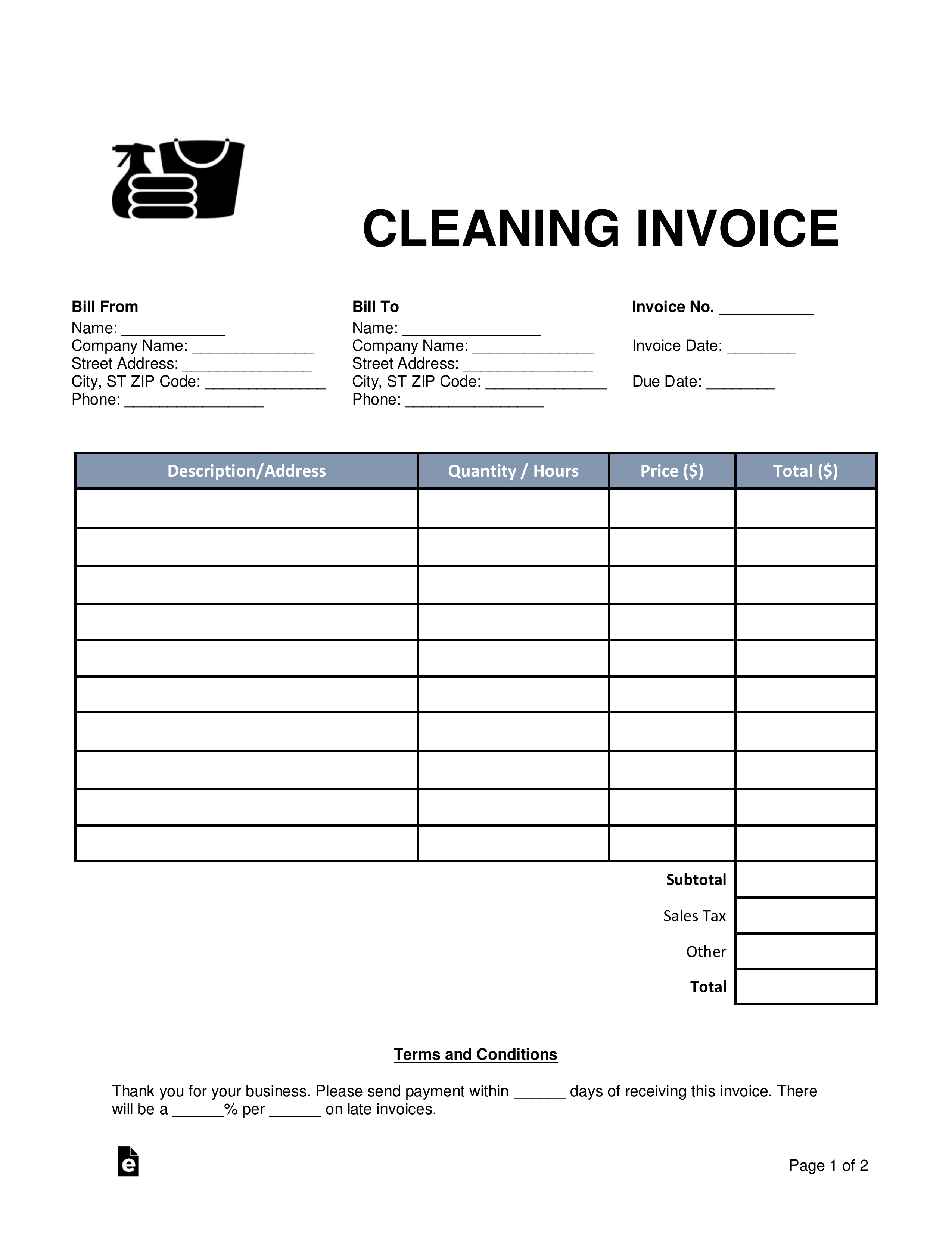 free cleaning housekeeping invoice template word pdf invoices for cleaning business